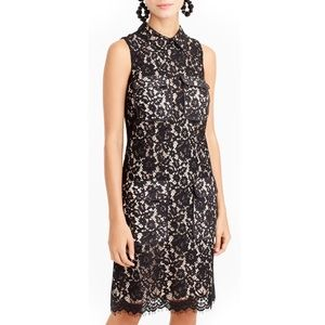 J. Crew Black Nude Lace Dress with Pockets 0